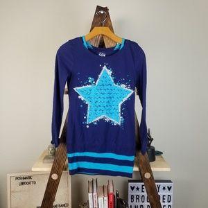 👑 Justice▪︎ Blue Flower Star Sparkle TShirt Dress